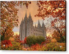 Autumn At Temple Square Acrylic Print