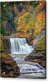 Autumn At The Lower Falls Acrylic Print by Rick Berk