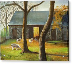Acrylic Print featuring the painting Autumn At The Sheep Barn by Oz Freedgood