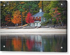 Autumn At Walden Pond Fall Trees Concord Ma Acrylic Print