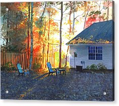 Acrylic Print featuring the painting Autumn Backyard by Sergey Zhiboedov