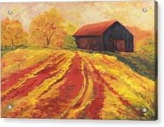 Autumn Barn Acrylic Print by Amy Welborn