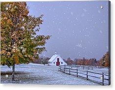 Autumn Barn In Snow - Vermont Acrylic Print by Joann Vitali
