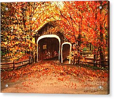 Acrylic Print featuring the painting Autumn Bike Ride by Patricia L Davidson