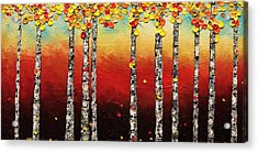 Acrylic Print featuring the painting Autumn Birch Trees by Carmen Guedez