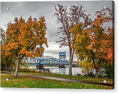 Autumn Blue Bridge Acrylic Print