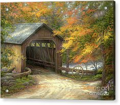 Autumn Bridge Acrylic Print by Chuck Pinson