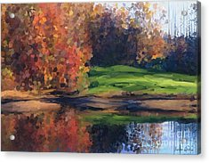 Autumn By Water Acrylic Print