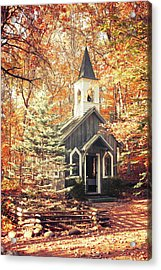 Acrylic Print featuring the photograph Autumn Chapel by Joel Witmeyer