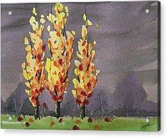 Autumn Cold Rain Acrylic Print by Christine Camp