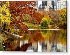 Autumn Colors In Central Park New York City Acrylic Print by Sabine Jacobs
