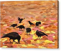 Autumn Crows Acrylic Print by Mimi Boothby