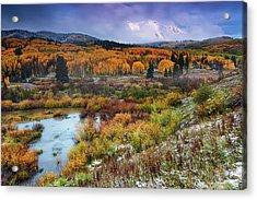 Autumn Dusting Acrylic Print by John De Bord