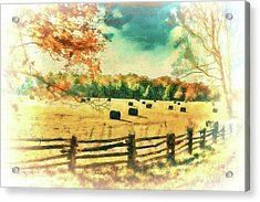 Autumn Fall Colors - Fall Hay Harvest Ap2 Acrylic Print