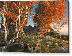 Autumn Fawns Acrylic Print by Mary Almond