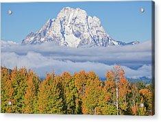Autumn Fog Below Mt. Moran Acrylic Print