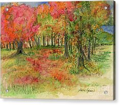 Autumn Forest Watercolor Illustration Acrylic Print