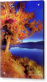 Acrylic Print featuring the digital art Autumn Glow Before Sunrise In The Blue Ridge Ap by Dan Carmichael