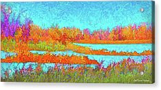 Acrylic Print featuring the digital art Autumn Grassy Meadow With Floating Lakes by Joel Bruce Wallach
