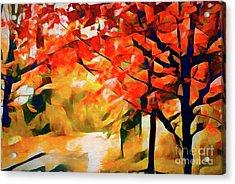 Glorious Foliage On The Rail Trail - Abstract Acrylic Print