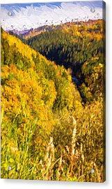 Autumn Hills Painterly Acrylic Print
