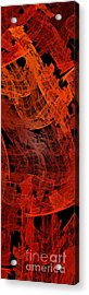 Acrylic Print featuring the digital art Autumn In Space Abstract Pano 2 by Andee Design