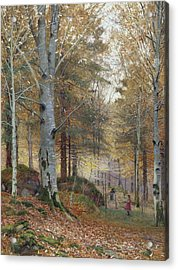 Autumn In The Woods Acrylic Print by James Thomas Watts