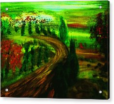 Acrylic Print featuring the painting Autumn In Tuscany by Evelina Popilian