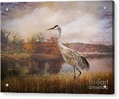 Autumn Lake Crane Acrylic Print