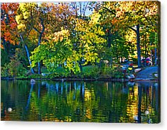 Autumn Lake Reflection Acrylic Print by Allen Beatty