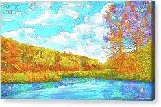 Autumn Lake Reflections - Park In Boulder County Colorado Acrylic Print