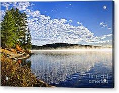 Autumn Lake Shore With Fog Acrylic Print by Elena Elisseeva