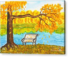 Autumn Landscape With Tree And Bench, Painting Acrylic Print