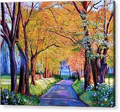 Autumn Lane Acrylic Print by David Lloyd Glover