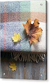 Autumn Leaves On Wool Plaid Blanket Acrylic Print