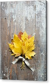 Autumn Leaves Tied With Ribbon Acrylic Print