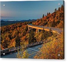 Morning Sun Light - Autumn Linn Cove Viaduct Fall Foliage Acrylic Print