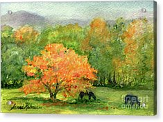Autumn Maple With Horses Grazing Acrylic Print