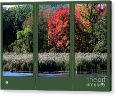 Autumn Marsh Through A Window Acrylic Print