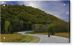 Acrylic Print featuring the photograph Autumn Motorcycle Rider / Red by Patti Deters