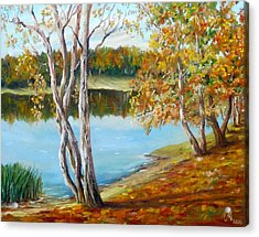 Acrylic Print featuring the painting Autumn by Nina Mitkova