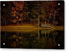 Autumn On The Lake Acrylic Print by Linda Unger