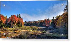 Acrylic Print featuring the photograph Autumn Panorama At The Green Bridge by David Patterson