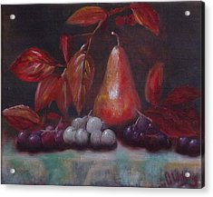 Autumn Pear With Grapes Acrylic Print