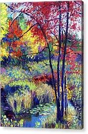 Autumn Pond Plein Air Acrylic Print
