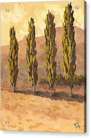 Acrylic Print featuring the painting Autumn Poplars by David King