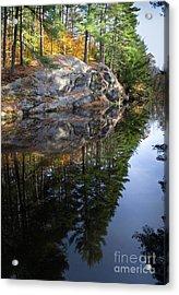 Autumn Reflections At Runaround Pond In Durham Maine  -20224 Acrylic Print