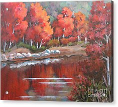 Acrylic Print featuring the painting Autumn Reflexions 2 by Marta Styk