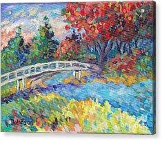 Autumn River Bridge Acrylic Print