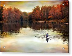Autumn River Row Acrylic Print by Jessica Jenney